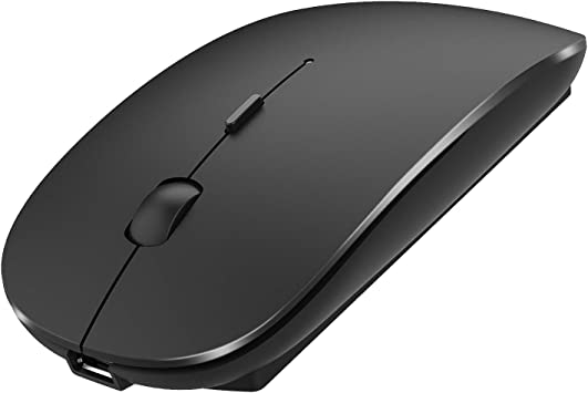 Rechargeable Wireless Mouse,2.4GHz and Bluetooth Metal Noiseless Silent Click Dual Mode Wireless Optical Mice with USB Receiver,Suitable for Mac PC Laptops,Computer Black Notebook