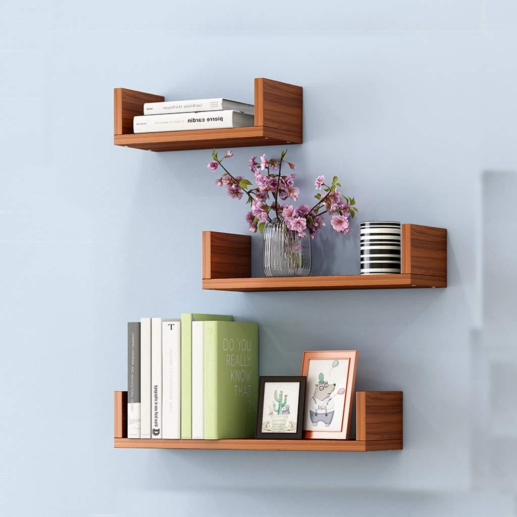 3 Floating U Shelves Wall Shelf Storage Rack Organization Kitchen/Children's Room DIY Wall Decoration Frame Home Decoration (Color : D)