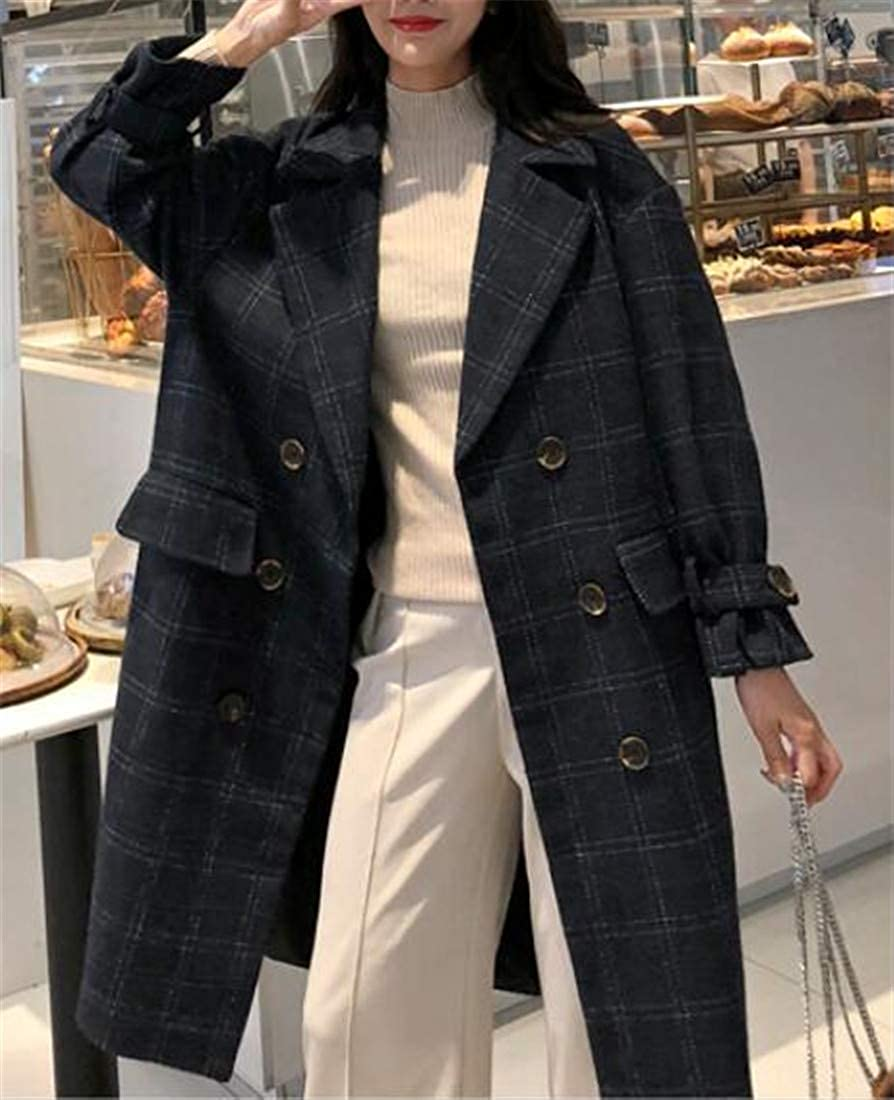 XiaoTianXinWomen XTX Womens Double Breasted Plaid Basic Lapel Outerwear Mid-Long Peacoats