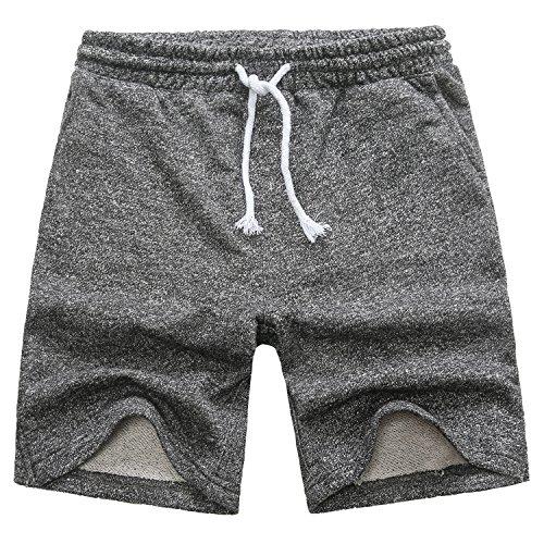 Manwan walk Men's Casual Classic Fit Cotton Elastic Jogger Gym Drawstring Knit Shorts (X-Large, Black)