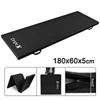 Dripex Folding Gymnastics Exercise Mat - 6FT/8FT Home Gym Mats with Carry Strap 5cm(2'') Thick Foam Nonslip Soft PU Leather for Yoga/Tumbling/Camping/Pilates/Martial Arts Training/Floor Workout