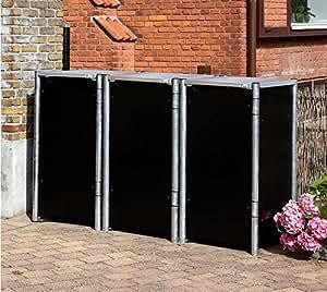 Hide schöner-wohnen24, contenedores, dispositivo Box Negro//181x 63x 115cm (Alto)//caja para 3contenedores 140L Volumen