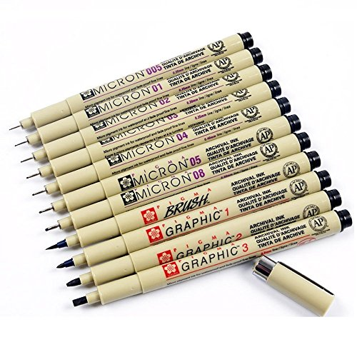 Sakura 11 Pcs Pigment Liner Pigma Micron Ink Fine Line Pen Set 005 01 02 03 04 05 08 1 2 3 Brush with Pen Case, Black, Made in ()