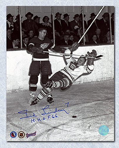 AJ Sports World Ted Lindsay Detroit Red Wings Autographed Knocks Down Leaf 8x10 Photo