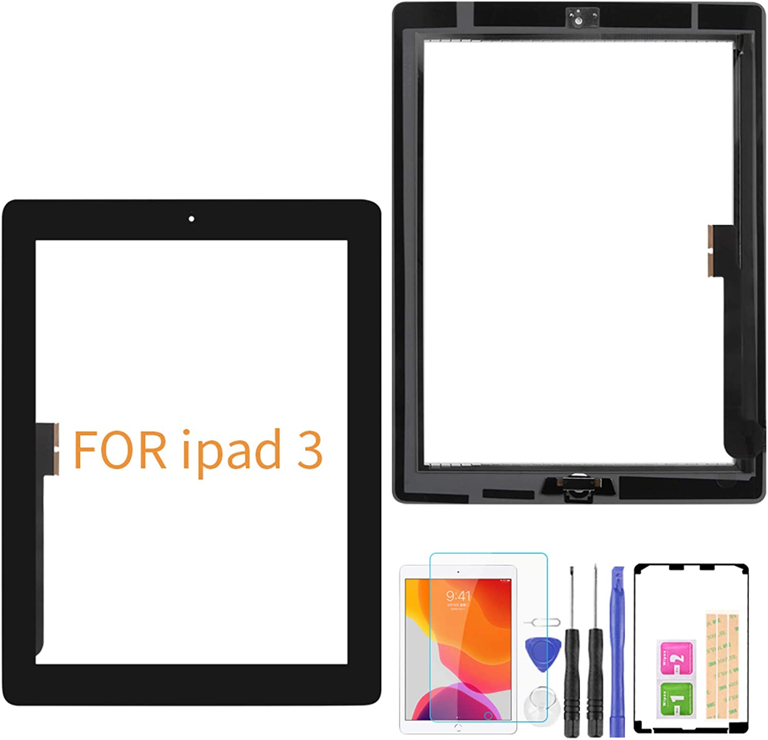 A-MIND for iPad 3 A1416 A1430 A1403 Touch Screen Replacement,with Free Tool Kits+Screen Protector (No LCD, No Instructions) Front Glass Panel Replacement (Black)