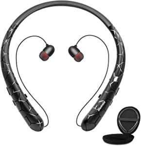 Bluetooth Headphones, Bluenin Bluetooth 5.0 Neckband Headphones Sport Noise Cancelling Headset with Carrying Case Retractable Earbuds Stereo Earphones with Mic (Black)