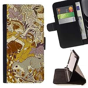 For Samsung Galaxy S3 III i9300 i747 Case , Diseño floral amarillo mostaza vintage- la tarjeta de Crédito Slots PU Funda de cuero Monedero caso cubierta de piel