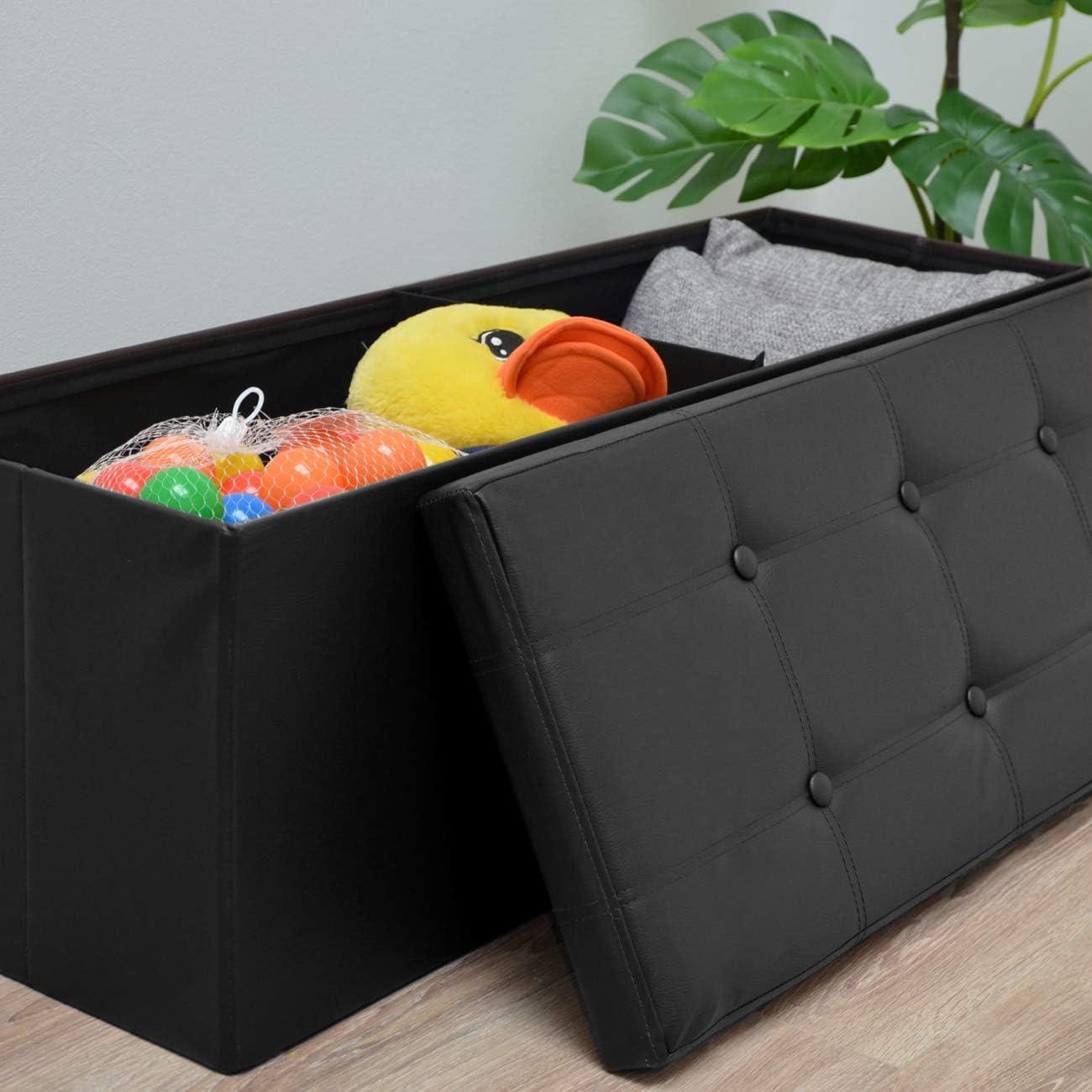 DuneDesign folding Ottoman 110x38x38cm rectangular leatherette upholstery Black Black
