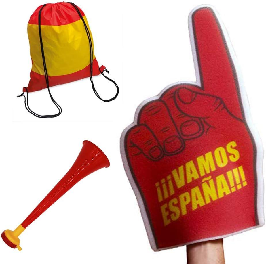 Fun Fan Line - Conjunto de animación para fútbol y eventos deportivos. Trompeta ruidosa vuvuzela + Mano gigante de espuma + Bolsa Mochila. Ideal para estadios y fiestas. (España): Amazon.es: Juguetes y juegos