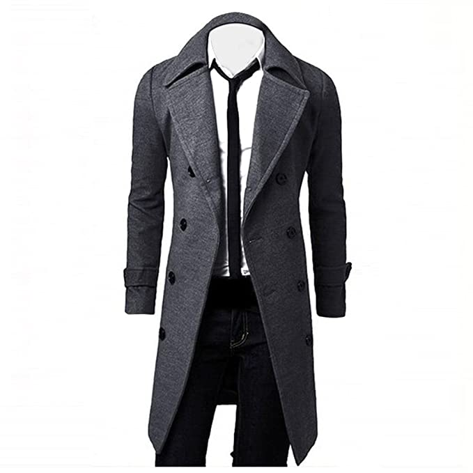 OverDose Hombres de invierno Slim elegante Trench Coat Double Breasted Chaqueta larga Parka (XL, Gris)