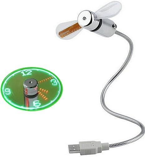 DaoRier 1pc Ventiladores USB Mini USB Ventilador LED Clock Reloj ...