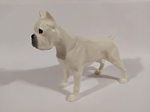 porcelain dog figurine English bulldog white porcelain figurine handmade