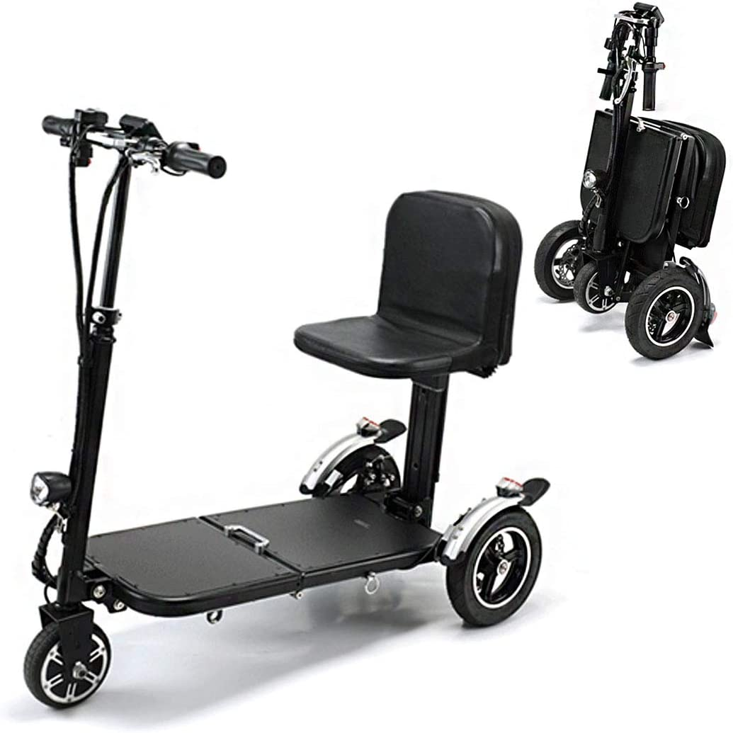 36V / 10.4AH eléctrico Triciclo motorizado Adulto Vespa portátil vehículo Scooter Plegable del Coche eléctrico de Litio Duración de la batería 28 kilometros Silla de Ruedas eléctrica