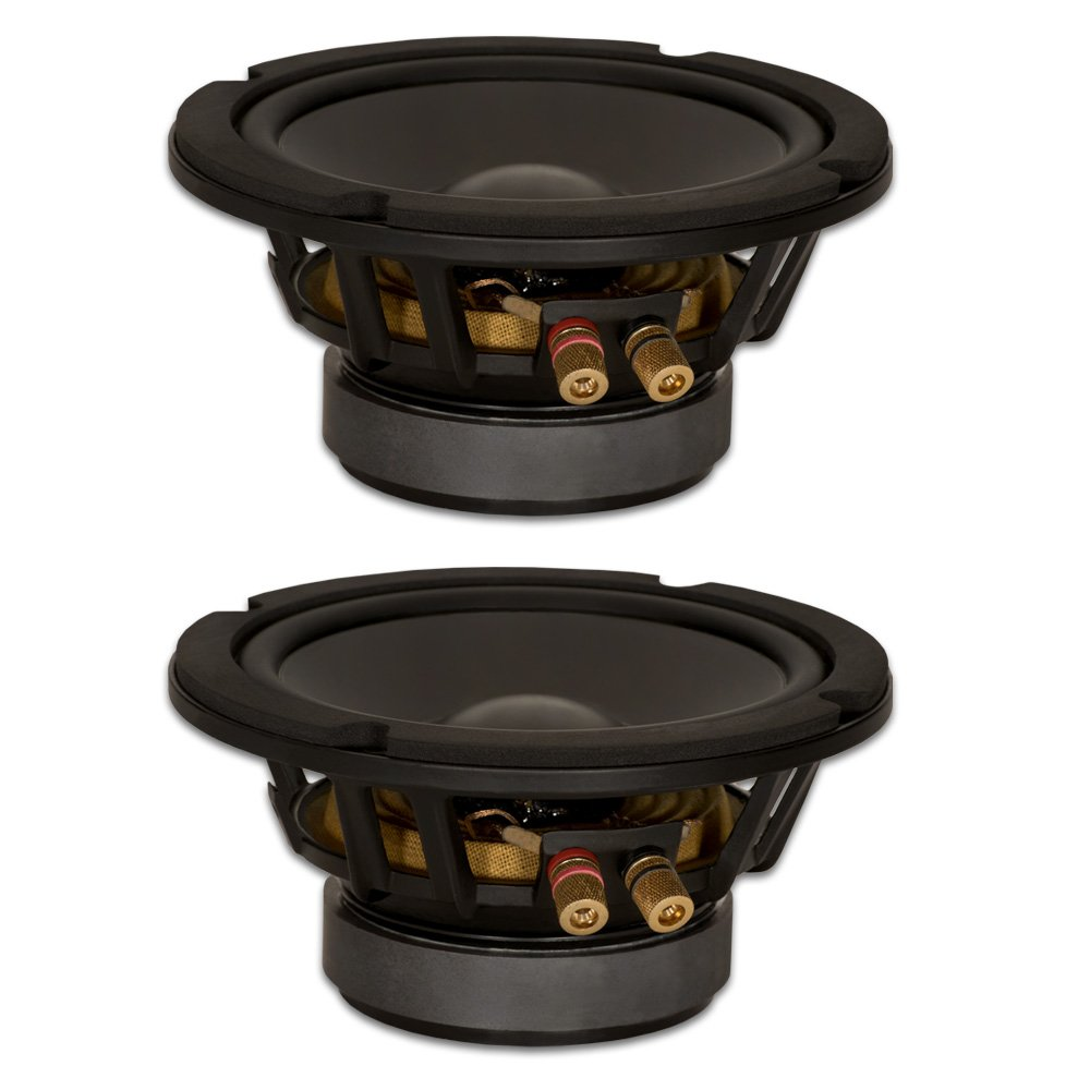 Goldwood Sound, Inc. Stage Subwoofer, Black, Heavy Duty 4ohm 6.5 Woofers 280 Watts Each Replacement 2 Speaker Set (GW-6PC-4-2)