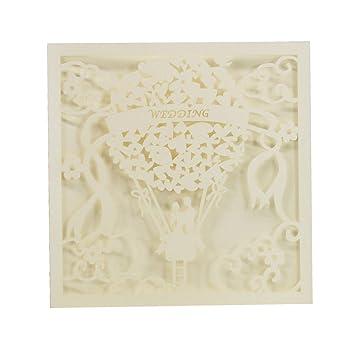 20pcs Vintage Spitze Elegante Hochzeit Party Einladungskarten Weiss
