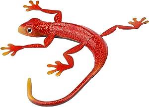 VOSAREA Metal Gecko Wall Decor 3D Lizard Inspirational Sculpture Hanging Pendant Wall Art Ornament for Home Garden Yard Outdoor Red