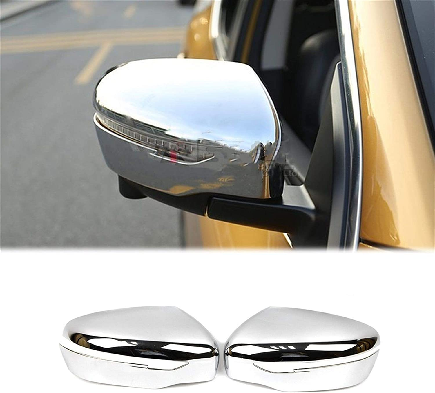 KCSAC Rearview Side Wing Mirror Cover Fit For Nissan Navara NP300 D23 2015 2016 2017 2018 Exterior Side Mirror Overlay Chrome Molding Trim