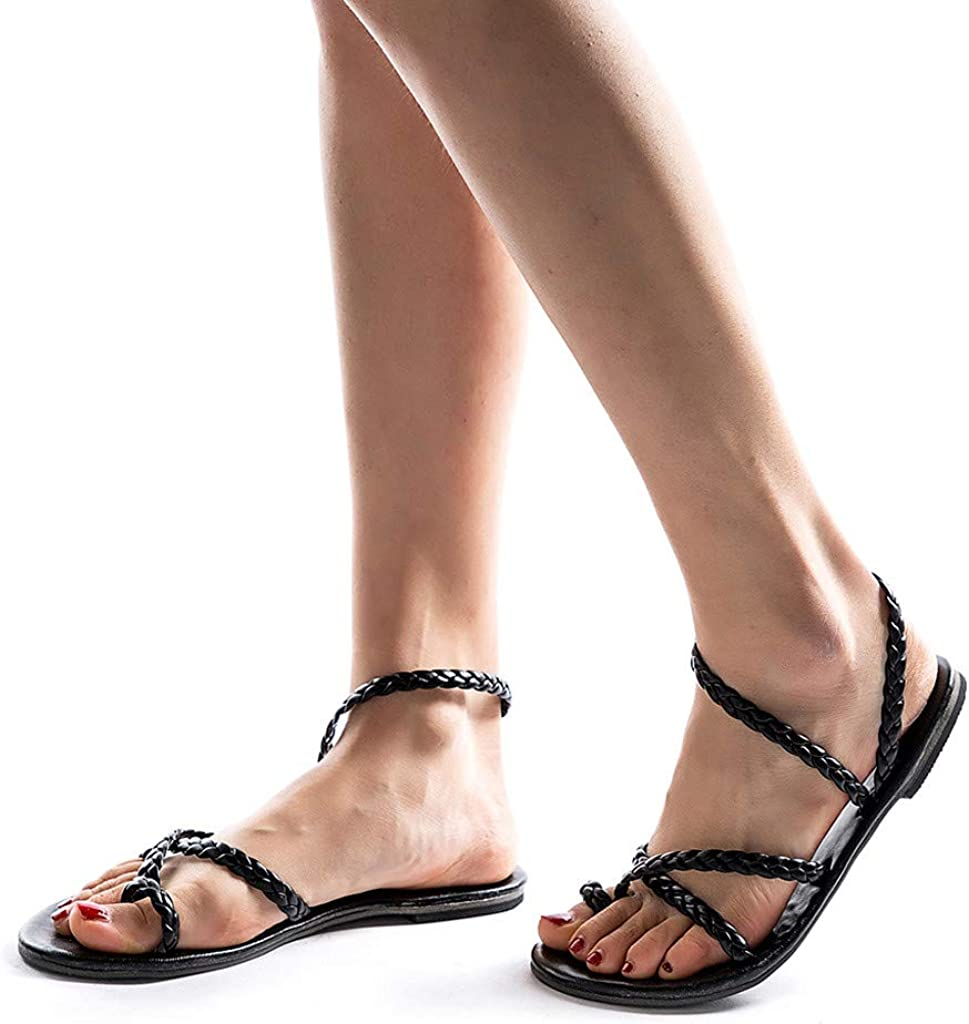 Womens Ethnic Style Woven Flat Shoes Beach Roman Sandals Mallcas Outdoor Popular Sandals Simple Stylish Shoes