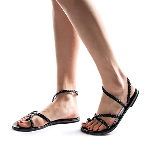 1198fca89dddc8 Women Roman Style Gladiator Sandals Ankle Strap Espadrilles Side Summer  Flats Shoes Black
