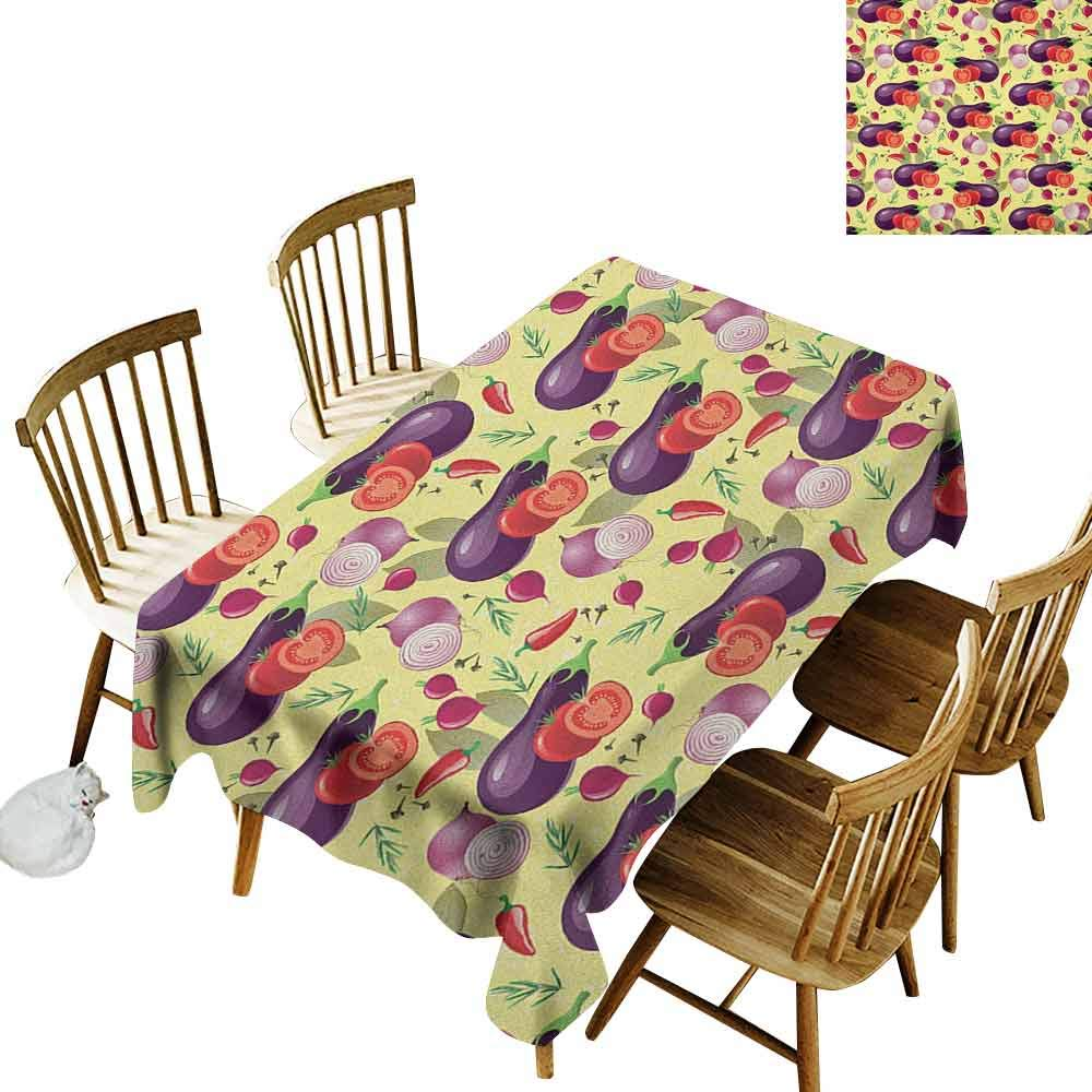 DONEECKL Eggplant Wrinkle Free Tablecloth Indoor and Outdoor Tablecloth Eggplant Tomato Relish Onion Going Green Eating Organic Tasty Preserve Nature Multicolor W52 xL70 by DONEECKL