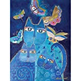 Westland Giftware Canvas Wall Art, Indigo Cat with Butterflies, 12 by 16