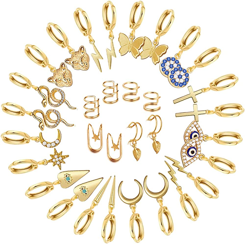 16 Pairs Gold Small Hoop Earrings Pack with Charm-Silver Mini Hoop Dangle Earrings with Charm- Huggie Hoop Earrings Set for Teen Girls And Women
