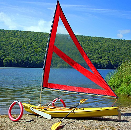 Serenity Upwind Kayak Sail and Canoe Sail Kit (Red). Complete with Telescoping Mast, Boom, Outriggers, Lee Boards, All Rigging Included! Compact, Portable, Easy to Set up - Makes a great gift ! by Sailskating (Image #9)