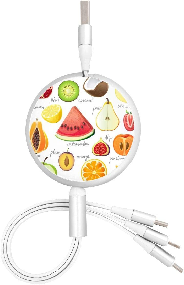 Retractable Multi USB Charging Cable Fast Charger Cord 3 in 1 15 Bright Fruits with Type C Micro USB Port Connectors