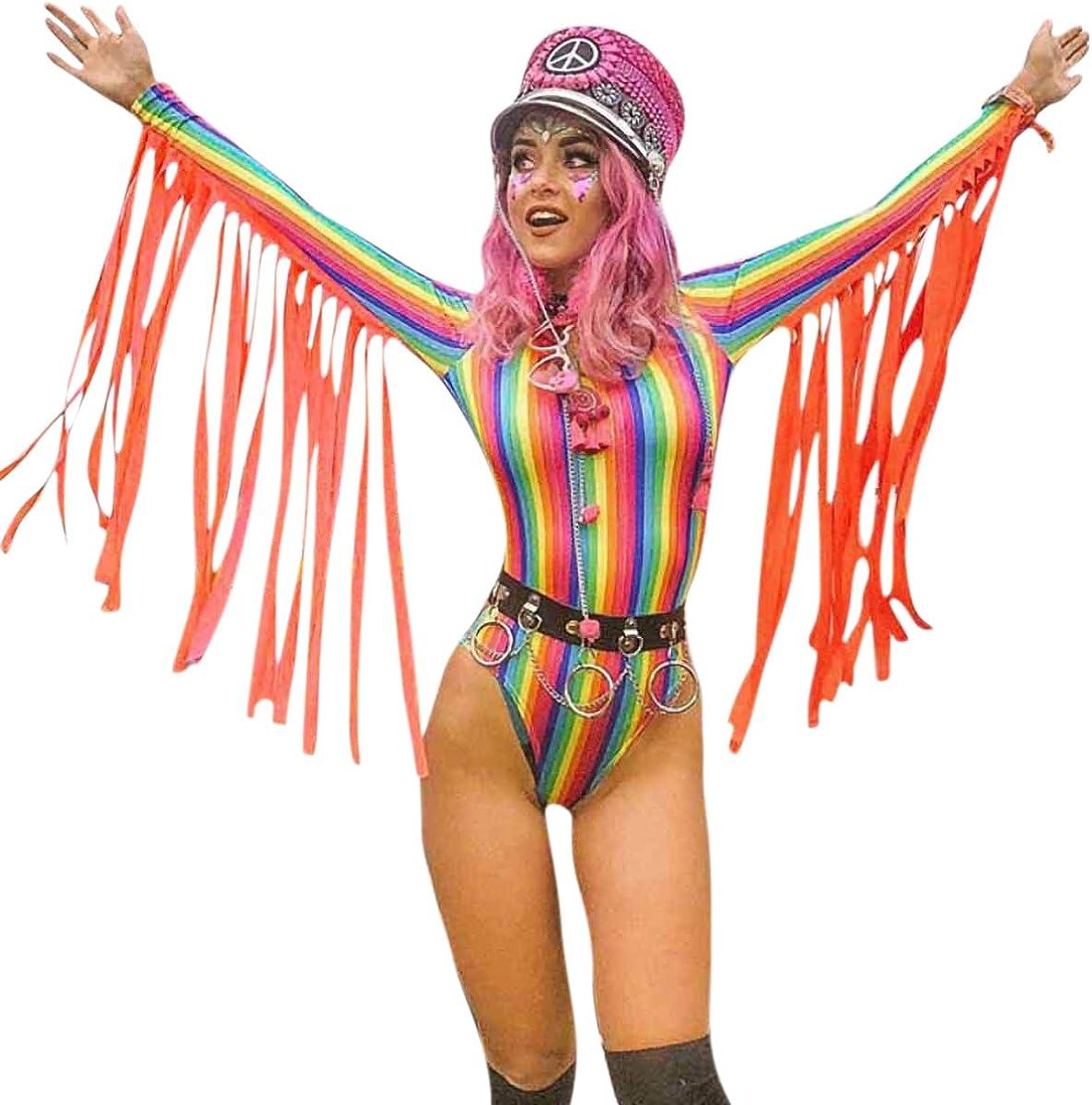 Tie-Dye Braided Festival Rave Bodysuit Women/'s Small