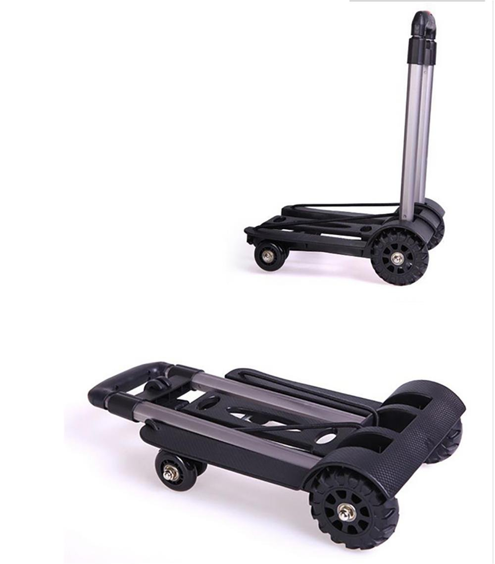 Trolley Dolly Collapsible Portable Aluminum Alloy Shopping Cart Rolling Swivel Wheels Adjustable Handle Multifunction Grocery Car
