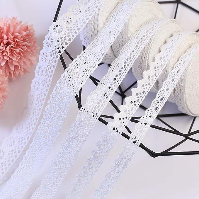 DAHI - Cinta de encaje blanca de algodón con encaje de encaje de ganchillo vintage, cinta decorativa, tela puntiaguda para coser, artesanía, boda, decoración: Amazon.es: Hogar
