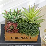 Country Rustic Wood Planter Faux Succulent Plants &artificial flower/ Moss / Decorative Windowsill Plant Container Box,Style2 For Sale