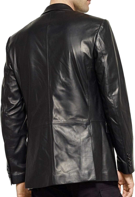 Mens Black Slim FIT Real Leather Blazer Jacket