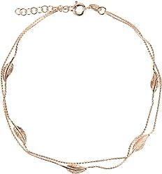 SL-Silver Fusskette Fusskettchen Blatt Länge 23-25 cm 925 Sterling Silber vergoldet