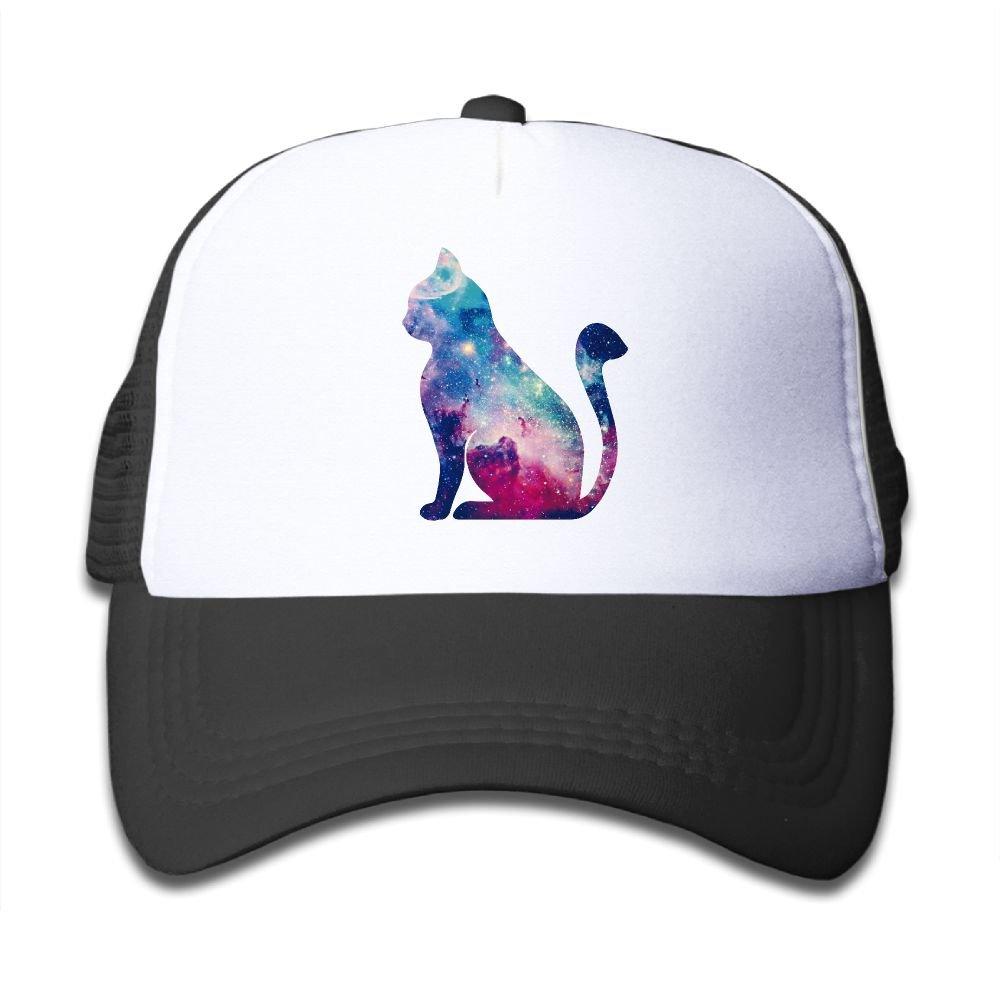 Boys&Girls Color Animation Cat Adjustable Trucker Hat,Child&Youth Unisex Strapback Cap Black