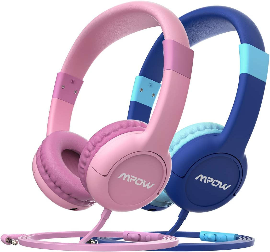 Mpow CH1S [2 Pack] Kids Headphones with 85dB Volume Limited, Music Sharing Function, Wired On-Ear Headphones for Children Toddler Baby School Class Travel