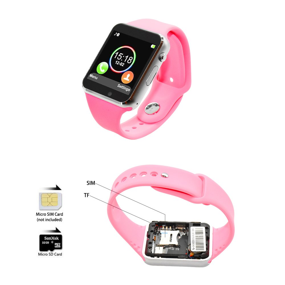 COSROLE Bluetooth Smart Watch, A1 Touch Screen Smart Wrist Watch with 8GB SD Card & Two Batteries & Screen Protector for Samsung Xiaomi Huawei Sony HTC LG Android Smartphones - Pink by COSROLE (Image #4)