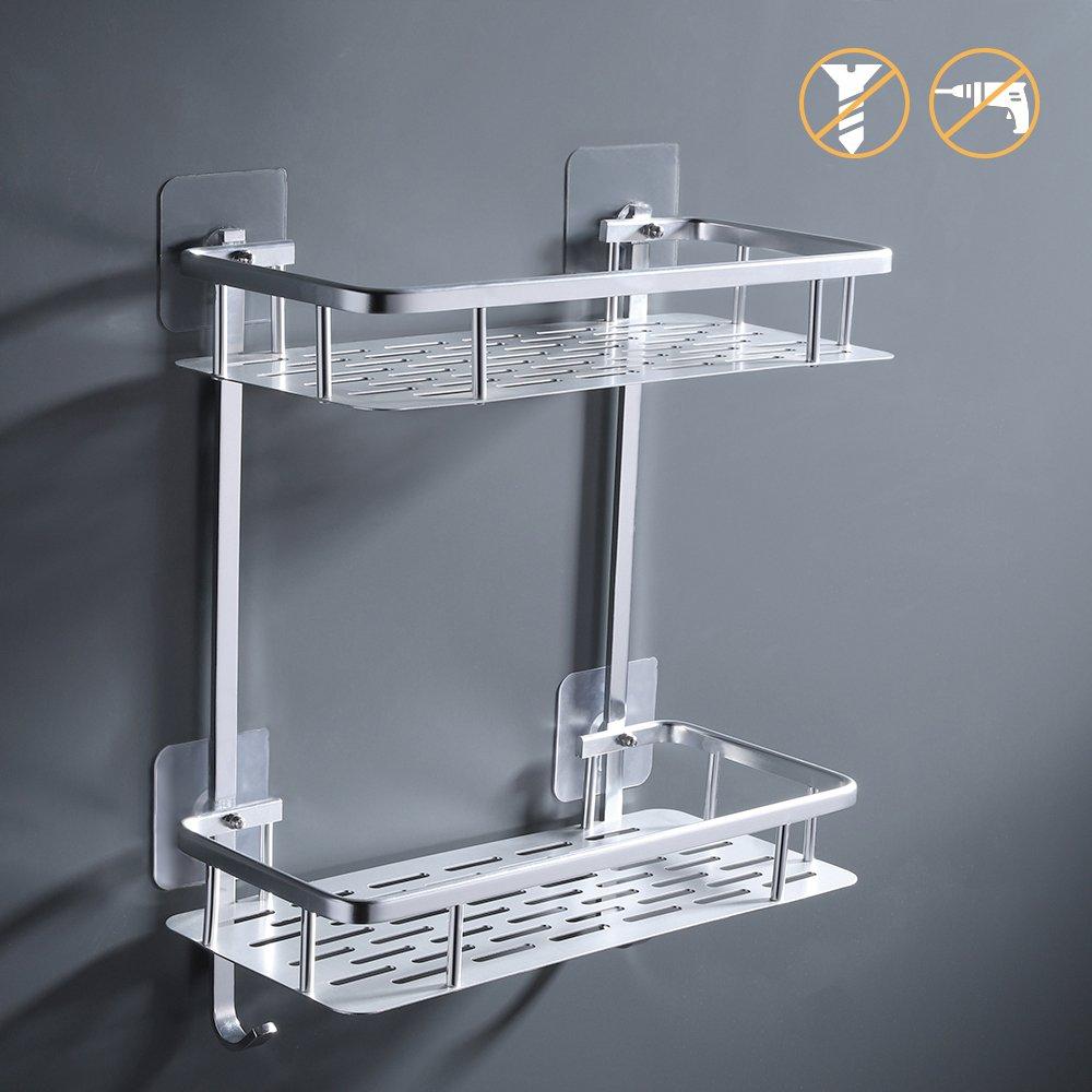 KES 2-Tier Bathroom Shelf No Drill Rectangle Shower Caddy Organizer ...