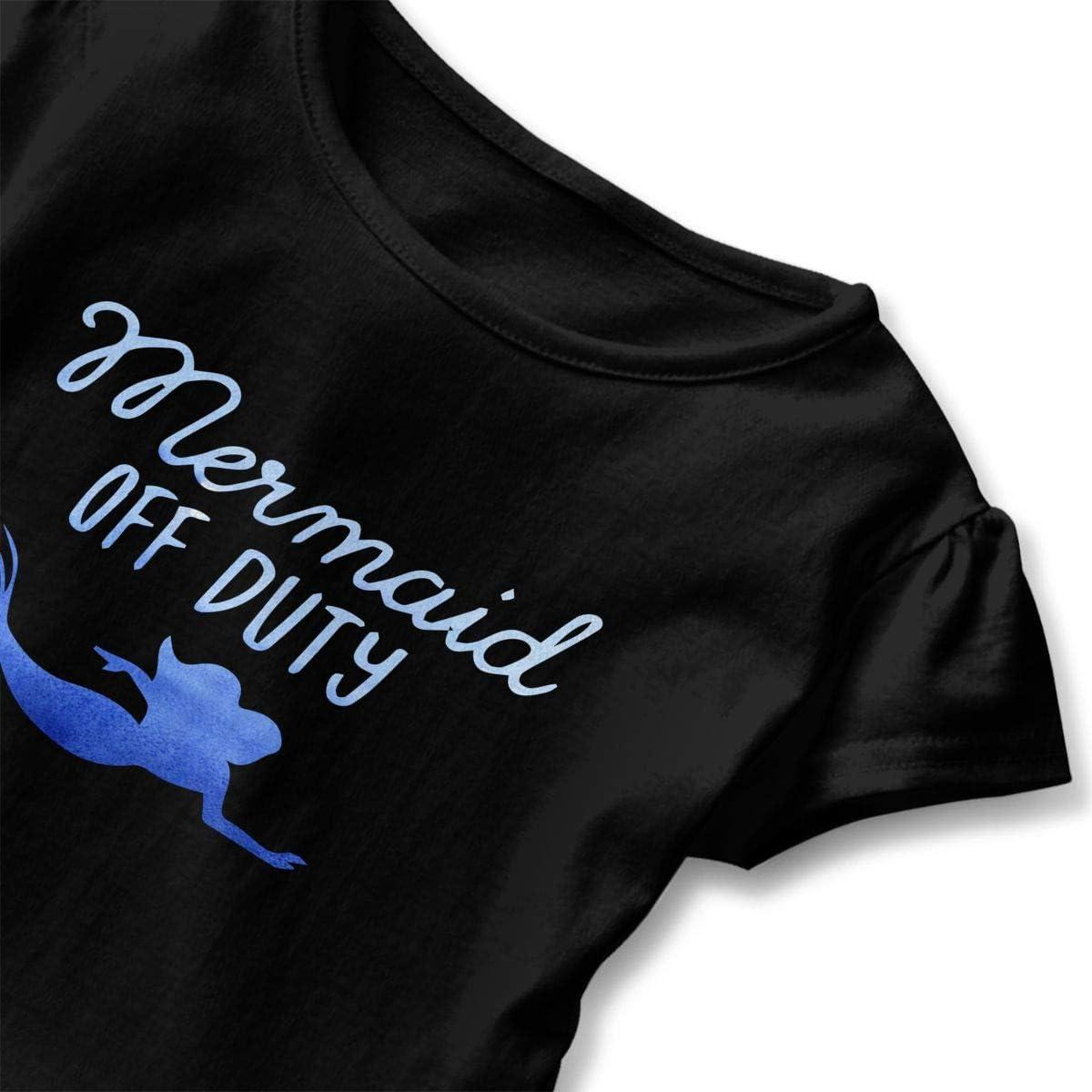 Mermaid Off Duty Toddler Girls T Shirt Kids Cotton Short Sleeve Ruffle Tee
