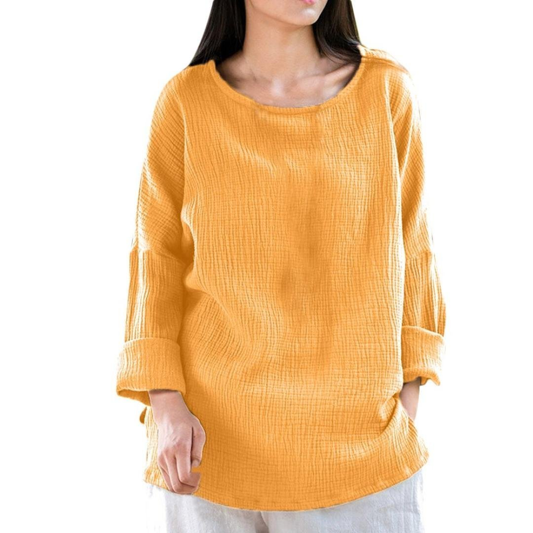 Women's Casual Loose Long Sleeve Round Collar Cotton Linen Shirt High Low Blouse Tops (M, Yellow)