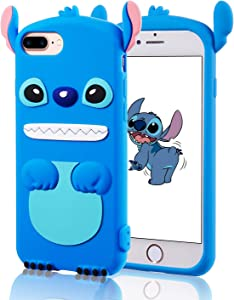 Jowhep Case for iPhone 6 Plus/6S Plus/7 Plus/8 Plus Silicone Carton Design Cute Cover Fashion Funny Kawaii 3D Skin Protective Accessories Shell Scratch Resistant Cases Girls Kids Women Blue
