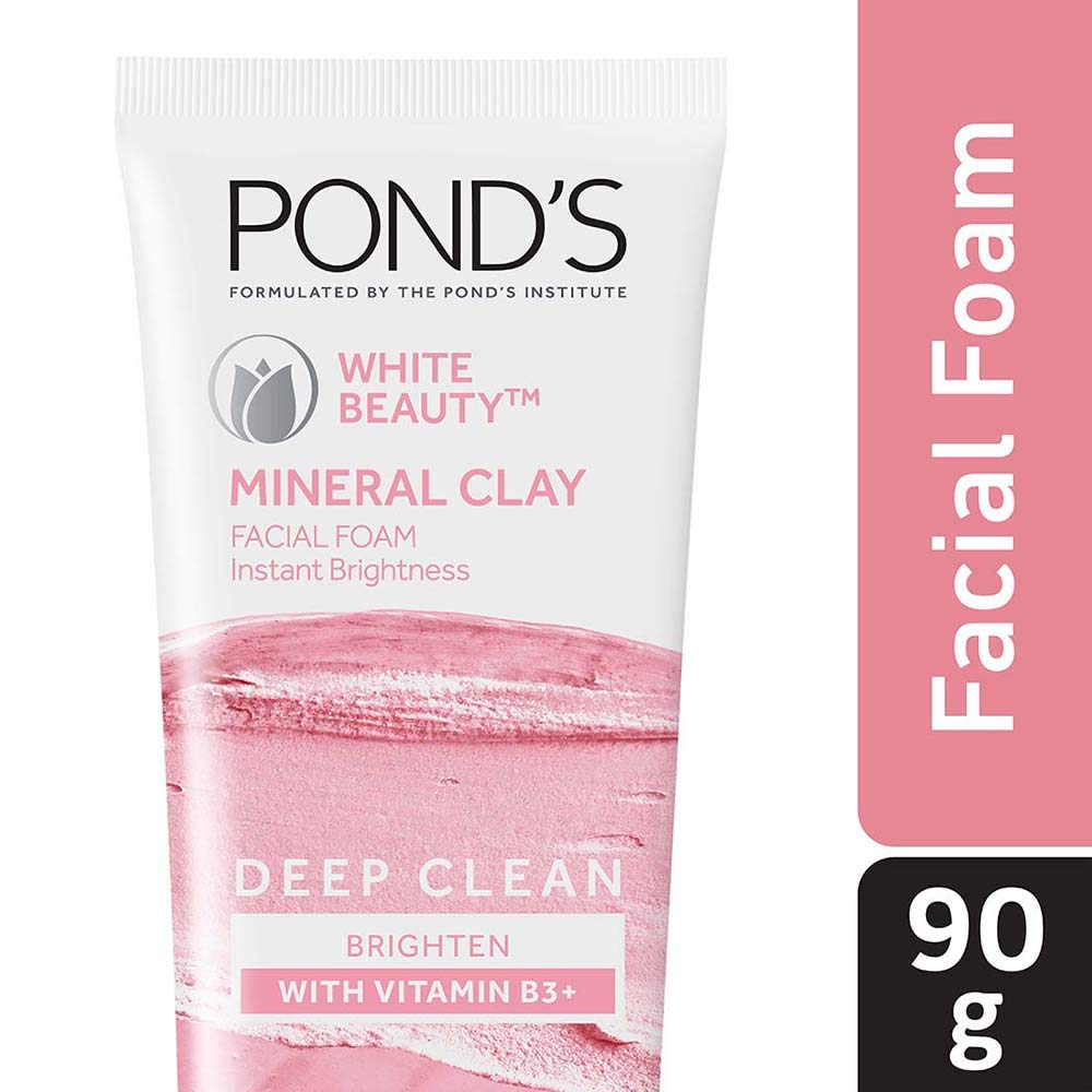 Pond's White Beauty Mineral Clay Instant Brightness Face wash Foam 90g