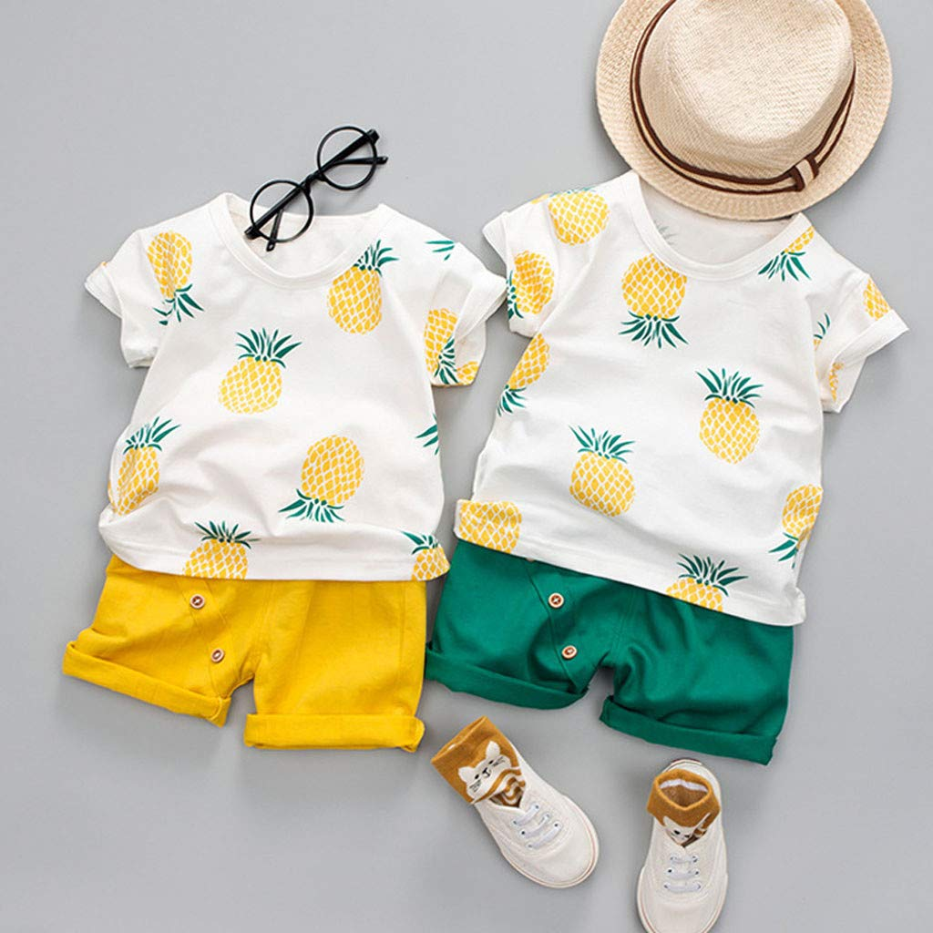 Toddler Baby Kids Boys Pineapple T-Shirt Tops Solid Short Casual Outfit Set by Sunsee (Image #4)