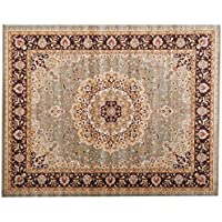 Safavieh Heritage Collection HG864A Handcrafted Traditional Oriental Green and Beige Wool Area Rug (6 x 9)