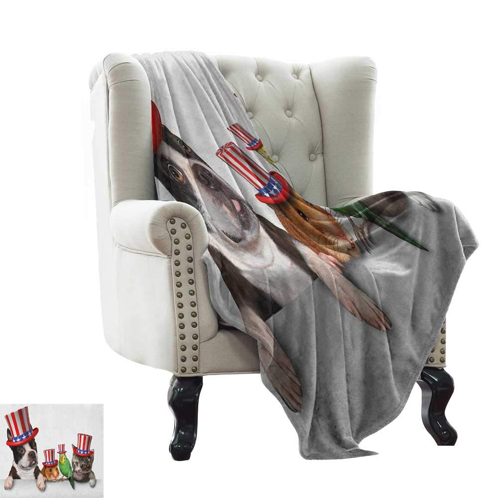 BelleAckerman Knit Blanket Fourth of July,Cute Pet Animal Dog Cat Bird and Hamster with American Hat Celebration Image, Multicolor All Season Light Weight Living Room/Bedroom 60''x70'' by BelleAckerman (Image #1)