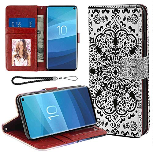 mophinda Phone Wallet Case for Galaxy S10+ (2019) Ethnic,Ethnic Mandala Floral Lace Paisley Mehndi Design Tribal Lace Image Art Print,Black and White Flip