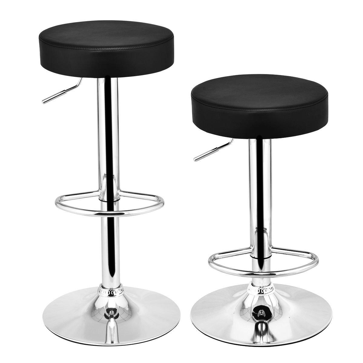 COSTWAY Swivel Bar Stool Round PU Leather Height Adjustable Chair Pub Stool w/Chrome Footrest (Black, 2 pcs)