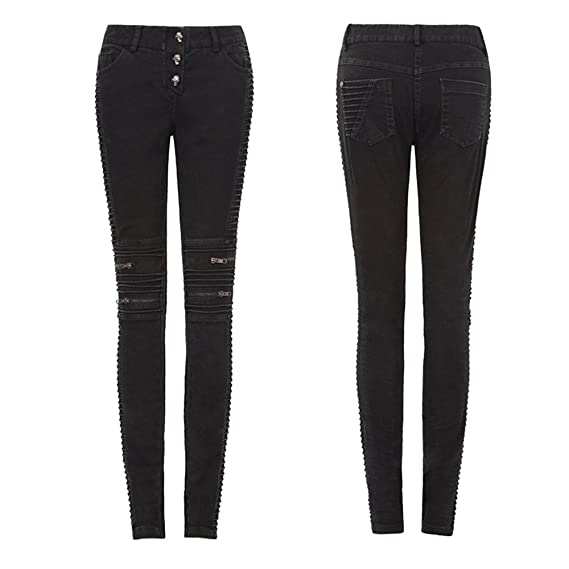 232db35e4d Punk Gothic Skinny Jeans for Women with Pockets Wrikled Design Butt Lift  Rock Pants Boyfriend Long Trousers: Amazon.co.uk: Clothing