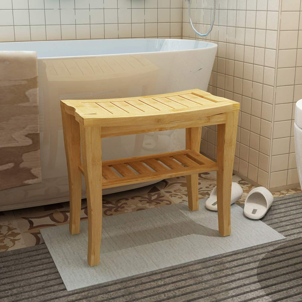 Soges Bamboo Shower Bench, Waterproof Shower Stool with Storage Shelf, Wood Bath Organizer Seat, KS-HSJ-04