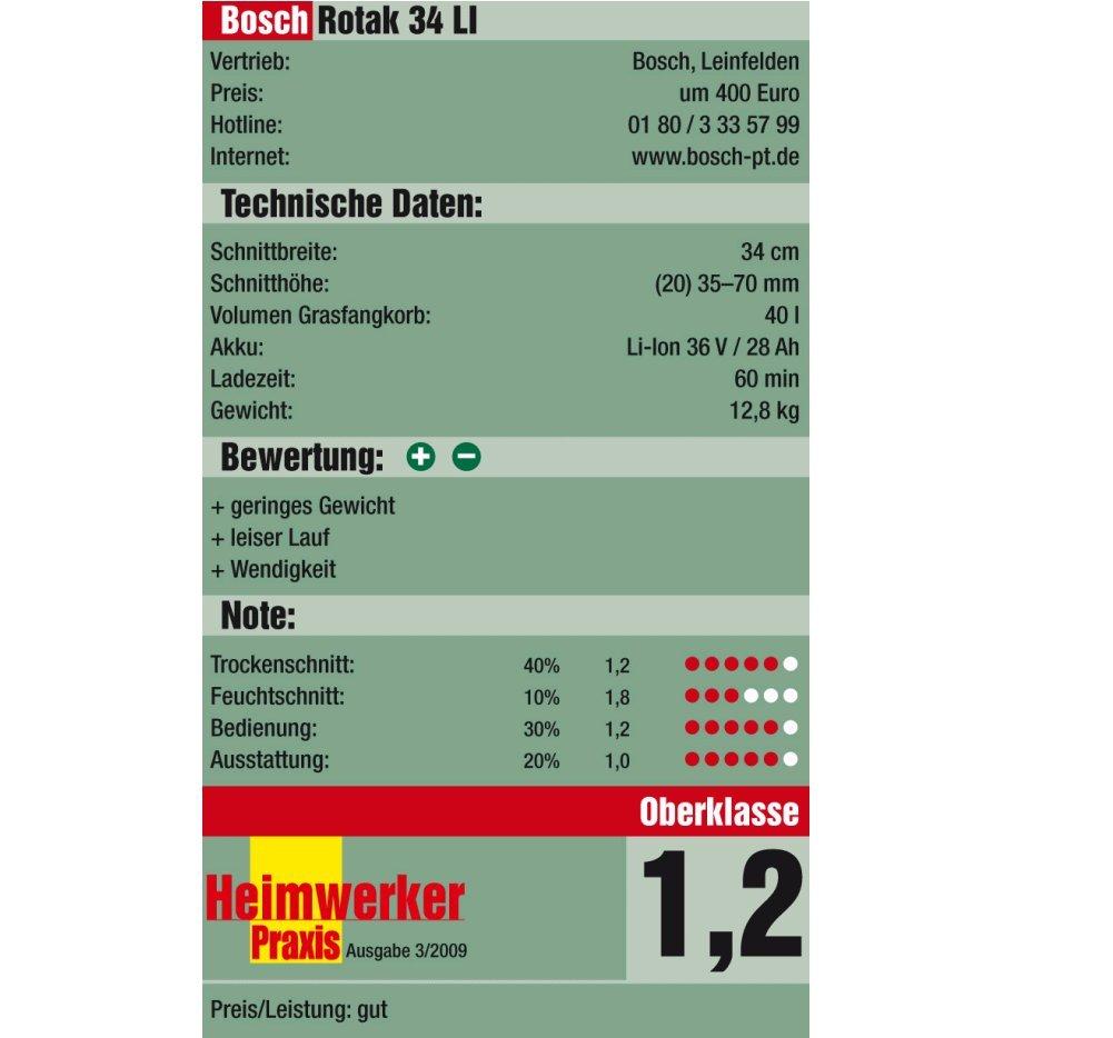 Bosch Rotak 34 LI - Cortacésped rotativo a batería de litio ...
